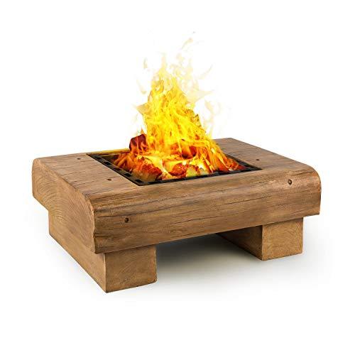 Blumfeldt Lombardia Fire Bowl 40x40cm BBQ - Pit Spark Protection MagicMag Wood Look