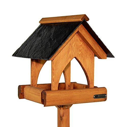 riverside woodcraft gothic slate roof bird table with anti bacteria coating