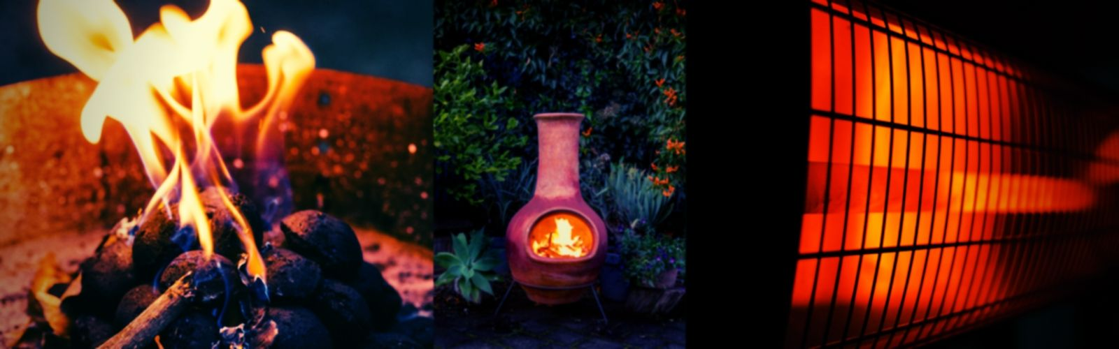 Picture comparing a fire pit to a chiminea and electric patio heater