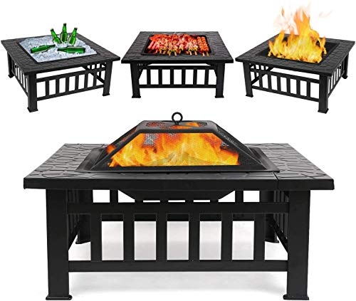femor upgraded large 3 in 1 fire pit with bbq grill shelfoutdoor metal 2
