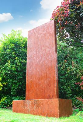 H120cm Vertical Corten Steel Water Wall with Colour Chaning LEDs by Ambienté