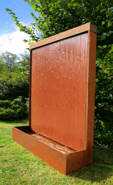 H175cm Vertical Corten Steel Water Wall with Colour Changing LEDs by Ambienté