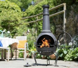 la hacienda xl murcia steel chiminea with grill black fast and free 1 1